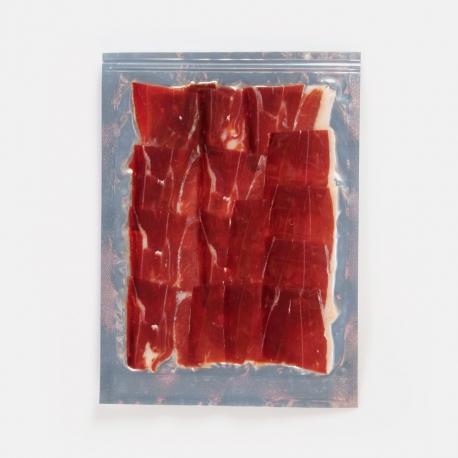 Sliced Spanish iberian cebo ham